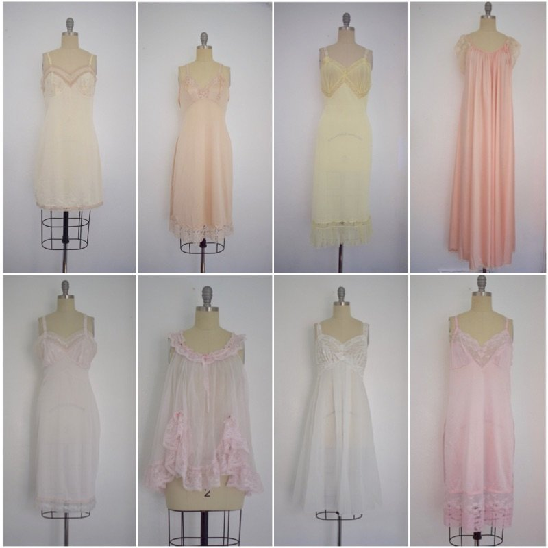Lot of 8 Pink/Beige/White 50s-70s Nightgowns