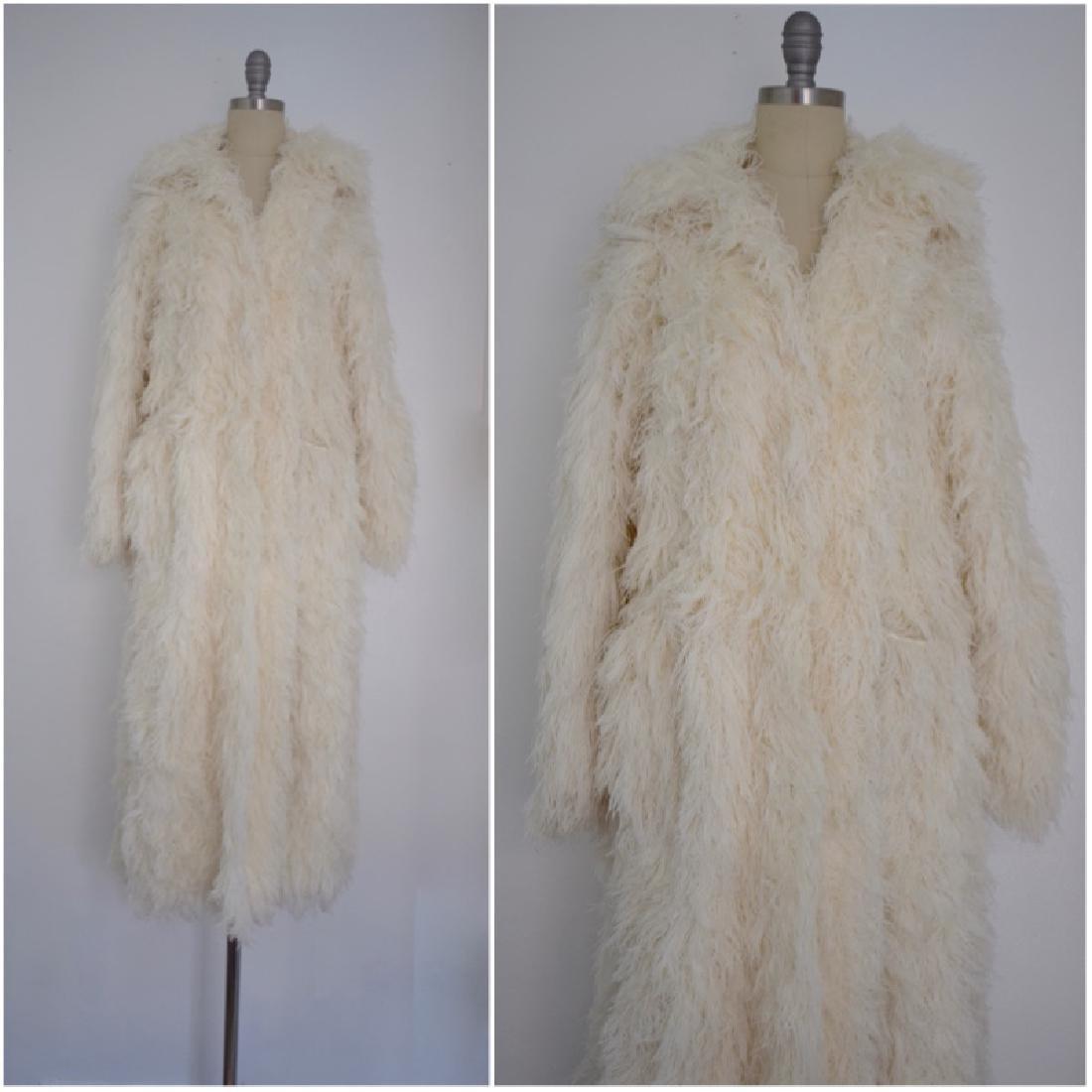 Vintage 1970s ivory Long Shaggy Coat