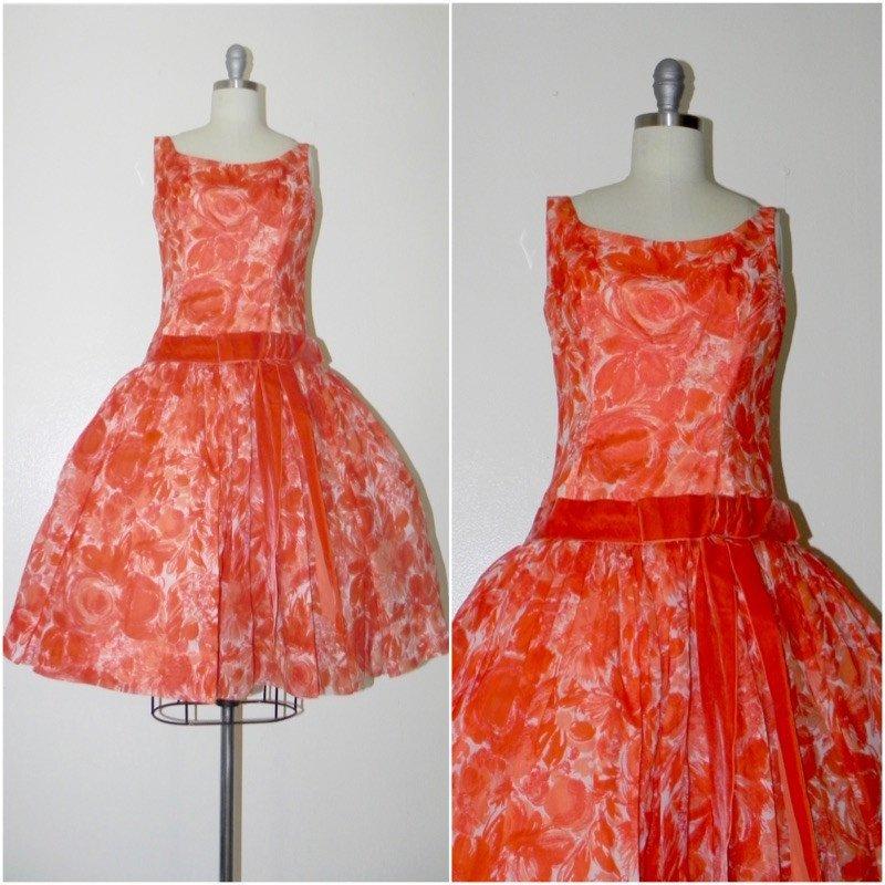 Vintage 1950s Floral Orange Chiffon Dress