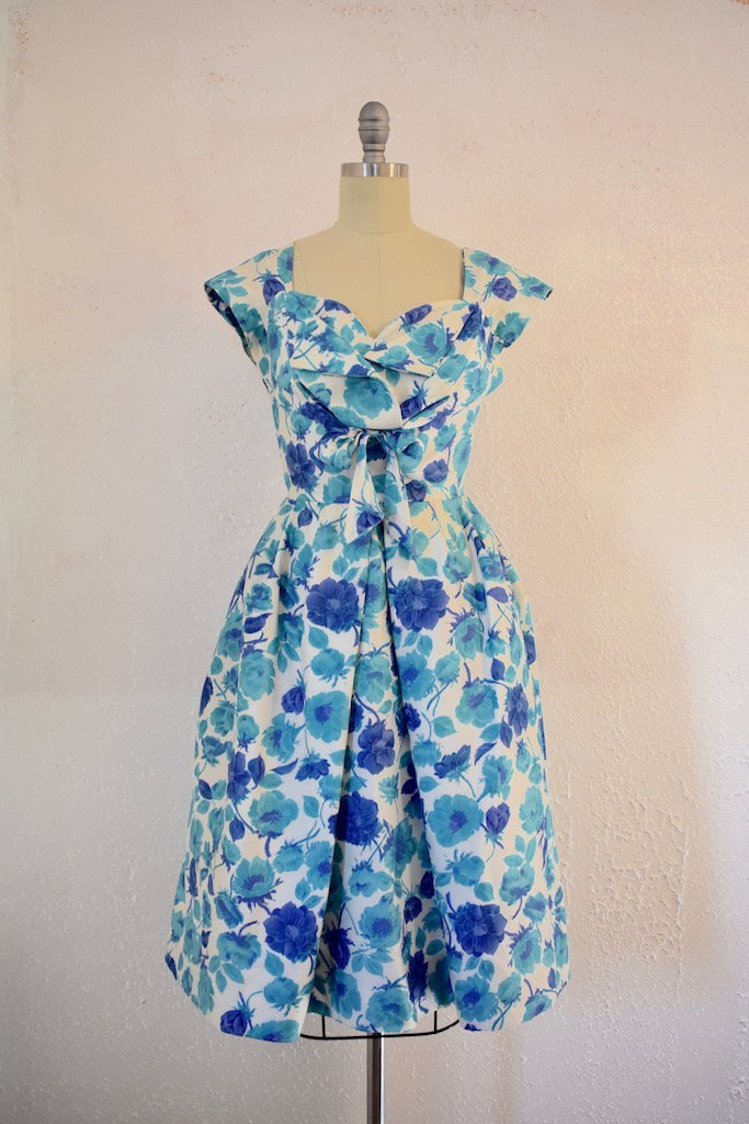 Vintage  1950s Jane Andre Blue Floral Cocktail Dress