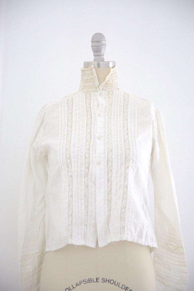 Edwardian Lace Cotton Blouse High Collar
