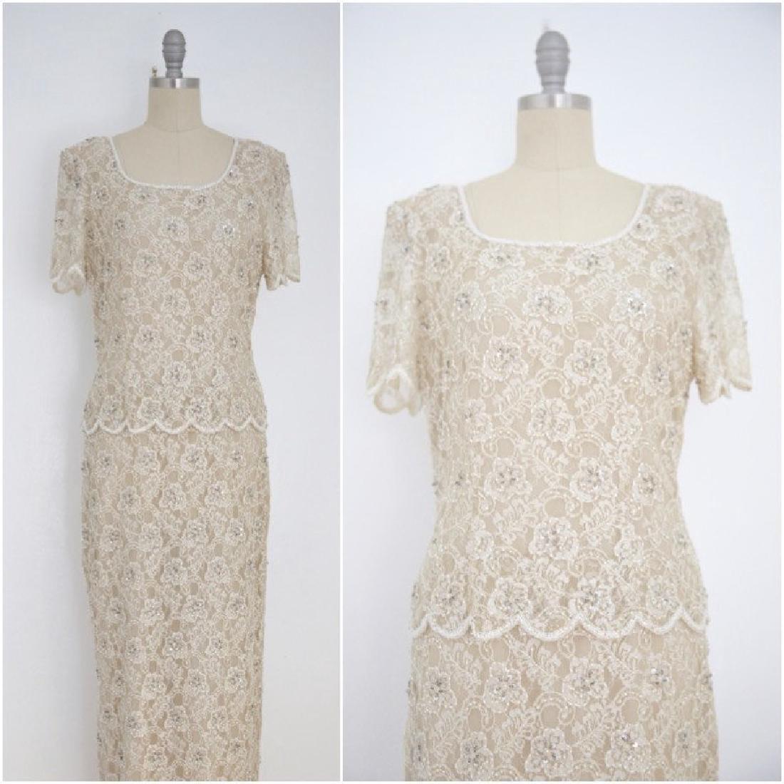 Vintage 1960s Beige Lace Floral Beaded Dress