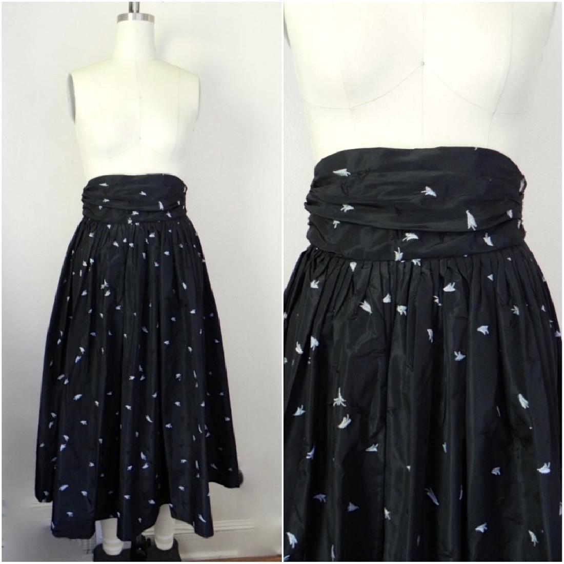 1950s Black Floral Crepe Skirt