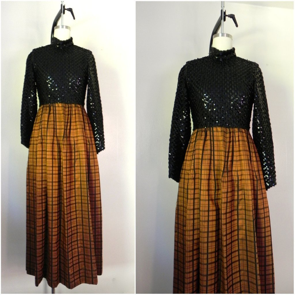 Vintage 1970s Lillie Rubin Evening Dress with Sequin