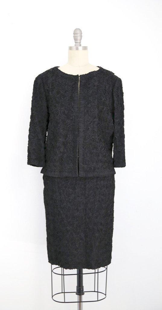 1960s  Vintage Black Floral Skirt Jacket Suit set