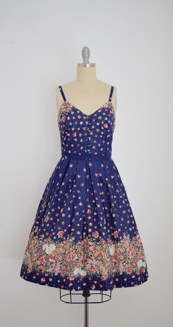 Vintage 1970s Lanz Originals Floral Cotton Navy Blue
