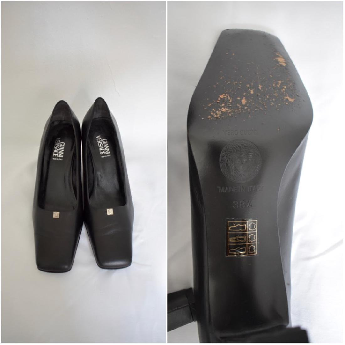 """""""Gianni Versace"""" Black Leather Shoes size 7.5 made in"""