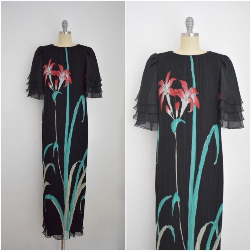 Vintage 1980s Black Chiffon Floral Dress