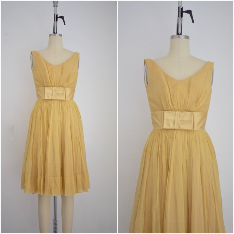 Vintage 1960s Yellow Chiffon and Satin Cocktail Dress