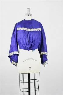 Antique Victorian Lady's Royal Blue Silk Blouse