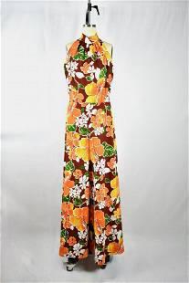 Vintage 1960s Orange/Brown Floral Halter Jumpsuit