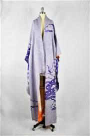 Vintage 1940's Purple Hand Threaded Silk Kimono Wrapper