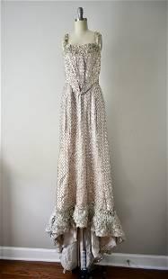 1940s Vintage Hollywood Beige Sequin Gown