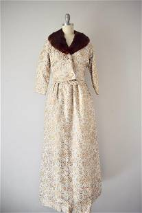1960s Gold Lame Brocade Gown & Mink Trimmed Jacket