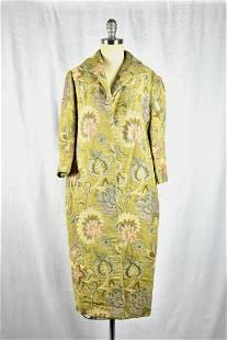Vintage 1960s Green Floral Tapestry Coat