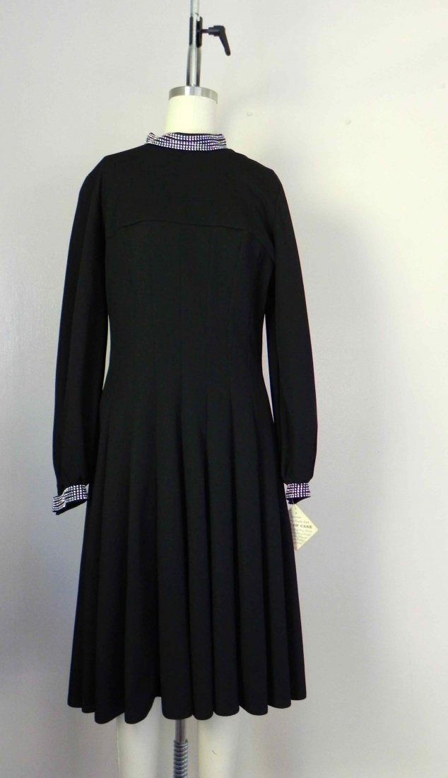 Vintage 1980s Alfred Warber Black Swing Dress