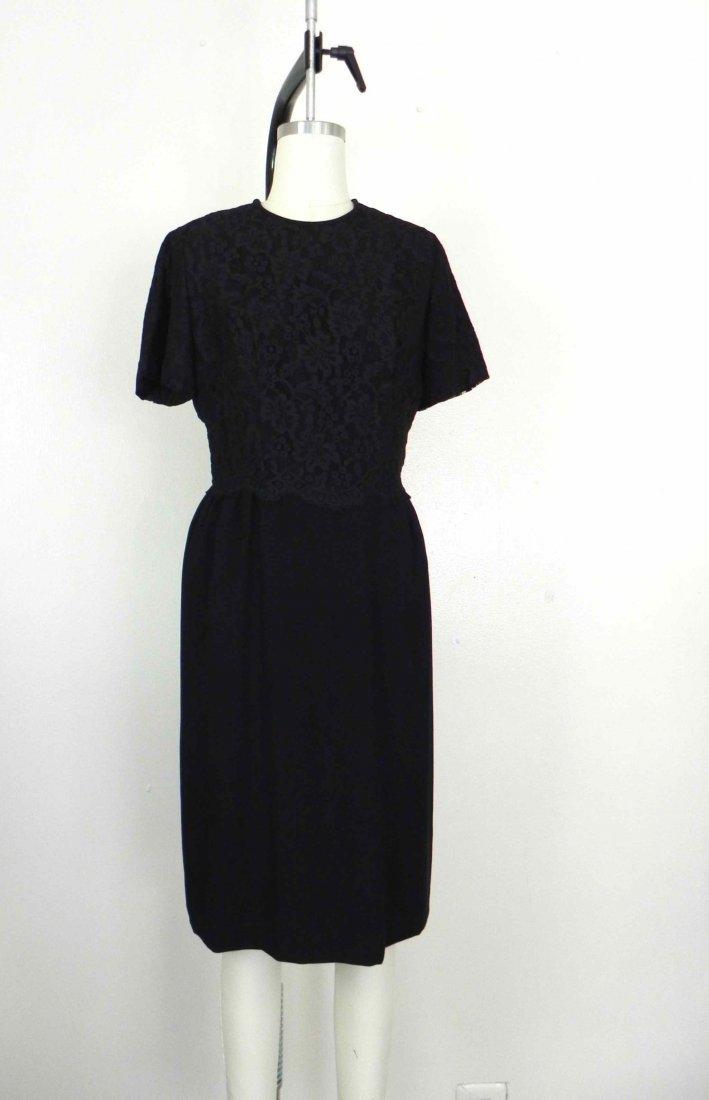 Vintage 1950s Dauphine Black Lace Floral Dress.