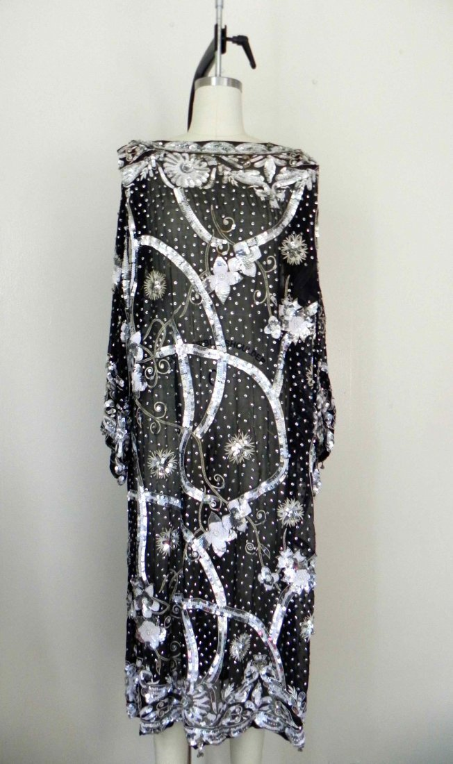 1970s Floral Shift Sequin Beaded Silver Black Dress