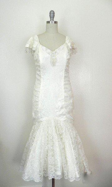 1980s Ivory Lace Beaded Wiggle Dress