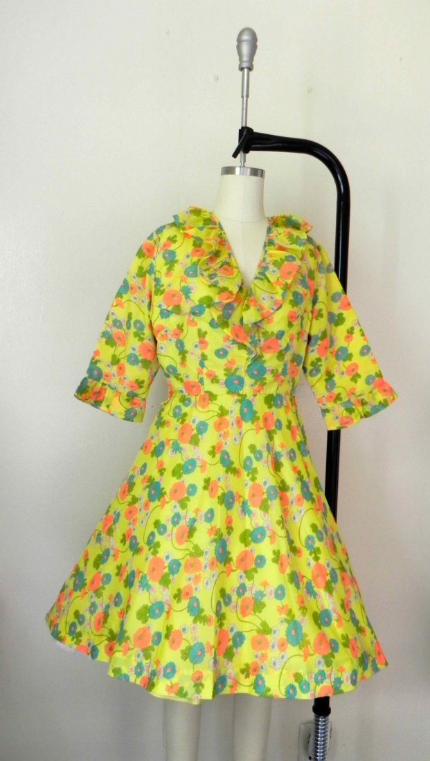 Vintage 1970s-1980s Yellow Neon Floral Dress.