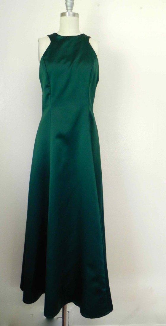 1980s Oleg Cassini Dark Green Formal Gown