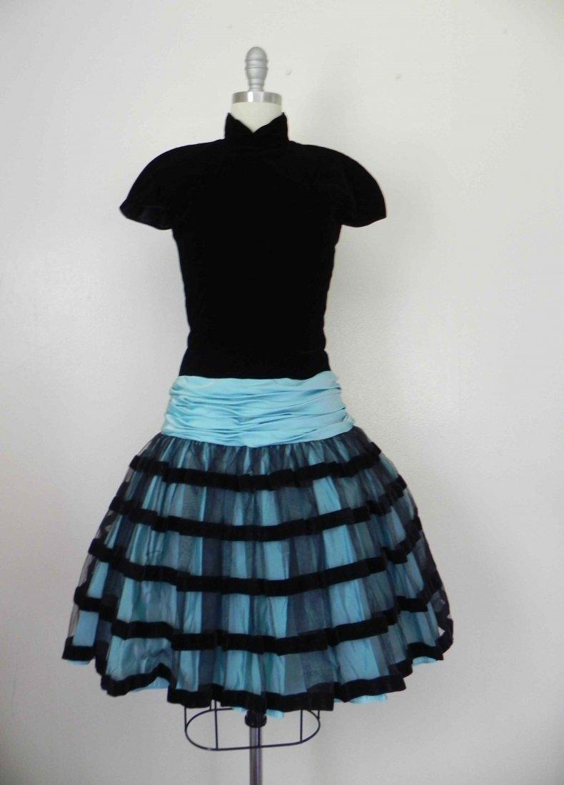 1980 Velvet Black Blue Cocktail Dress by Victor Costa
