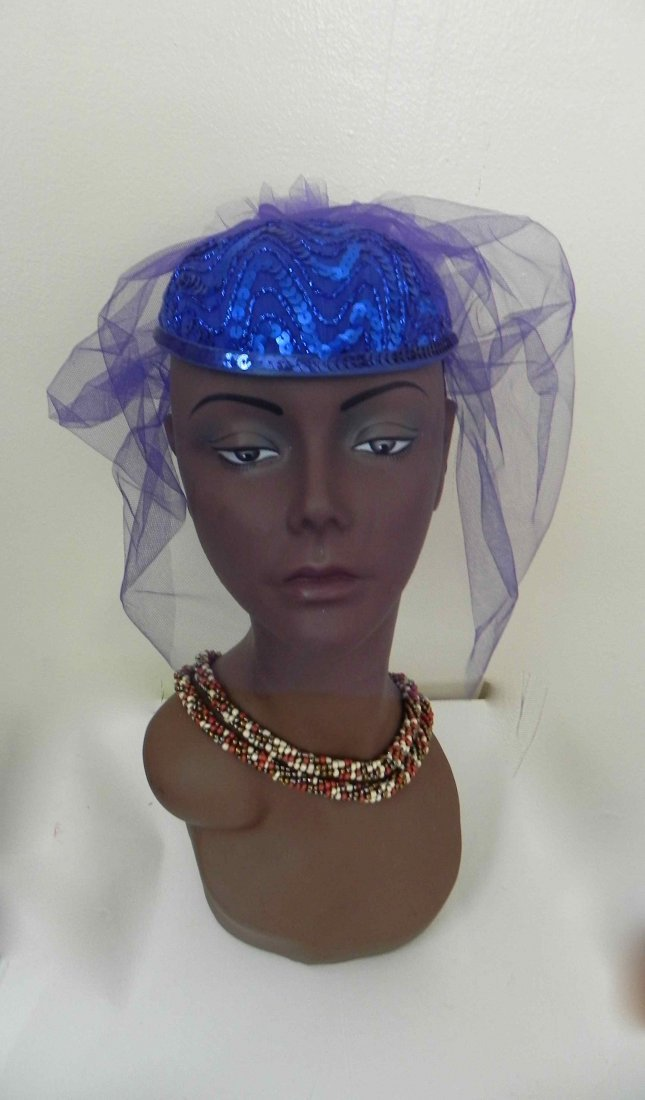 Vintage 1950s Sequined/Bead Blue Hat With Purple Bow