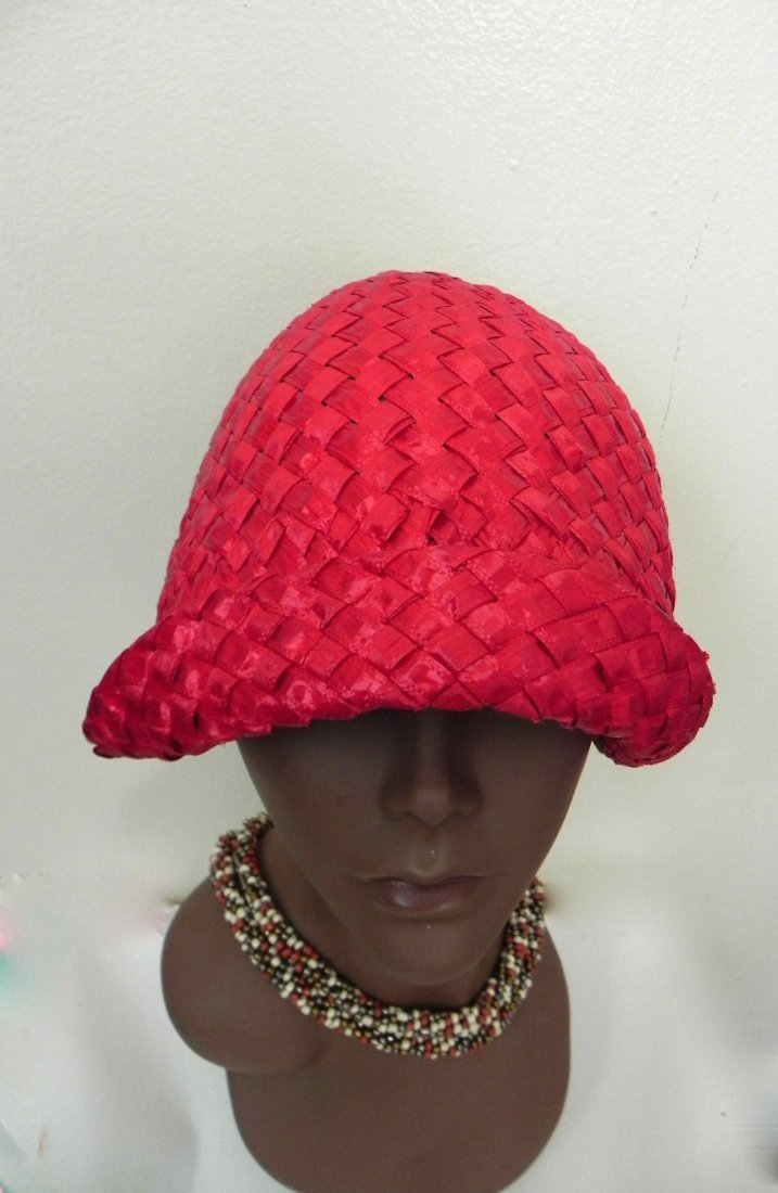 Vintage 1960s Red Straw Style Hat with White Trim