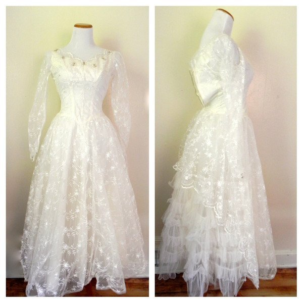 1950s Vintage Lace Tulle Sequin Wedding Swing Dress