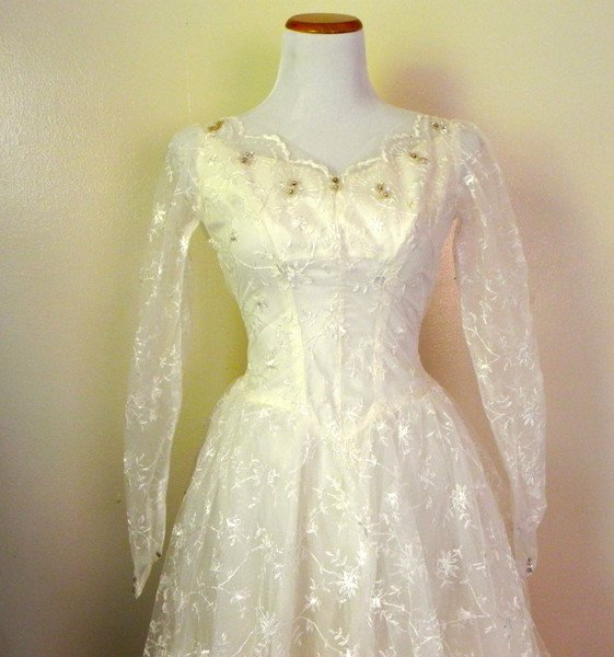 1950s Vintage Lace Tulle Sequin Wedding Swing Dress - 2