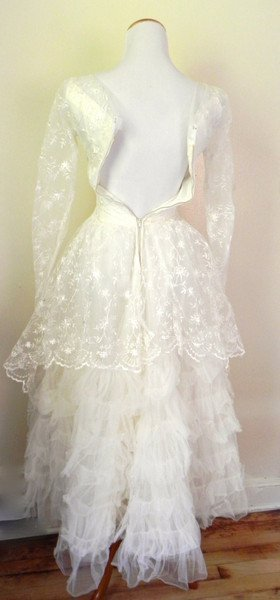 1950s Vintage Lace Tulle Sequin Wedding Swing Dress - 3