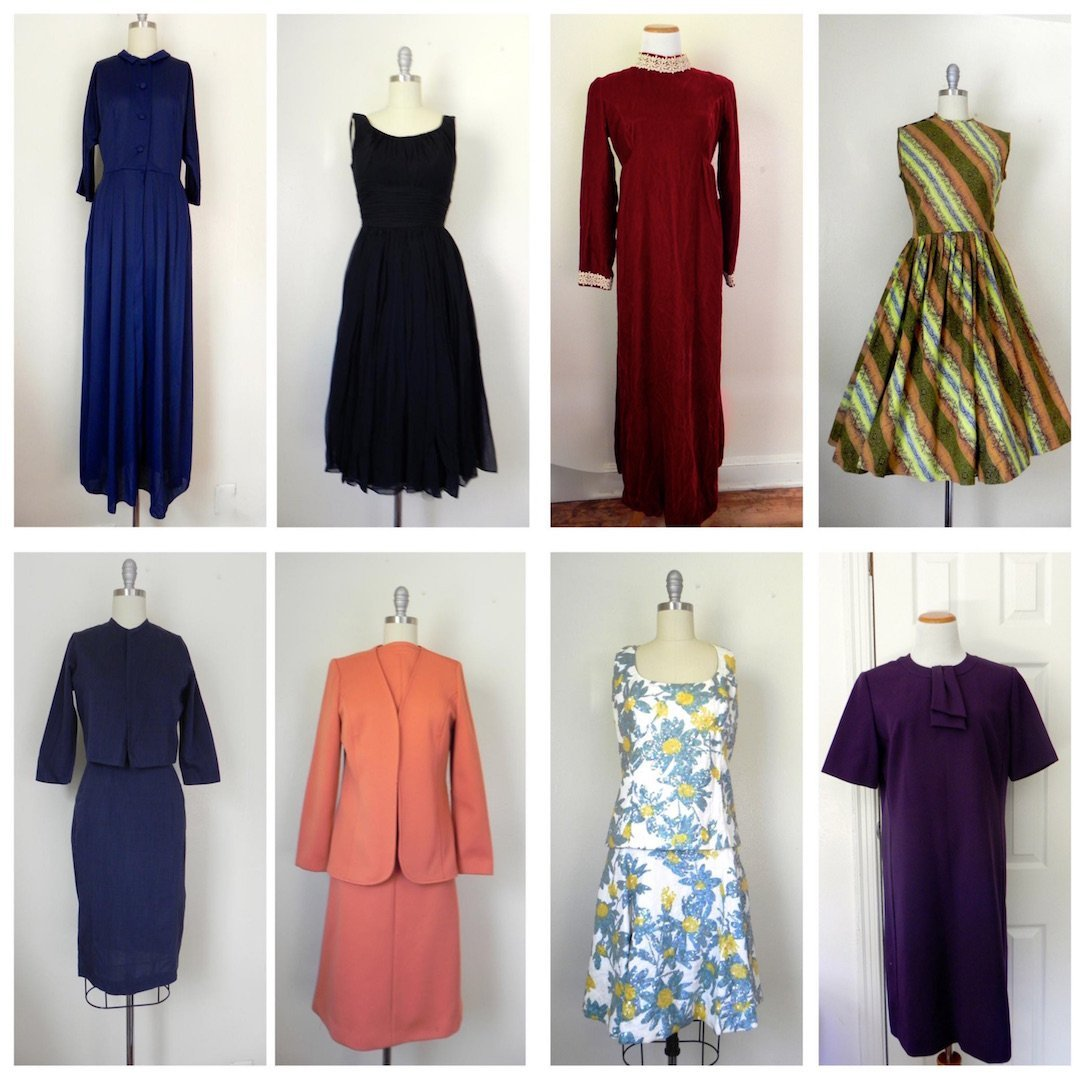 Lot of 8 1950S-1960s Vintage Dress
