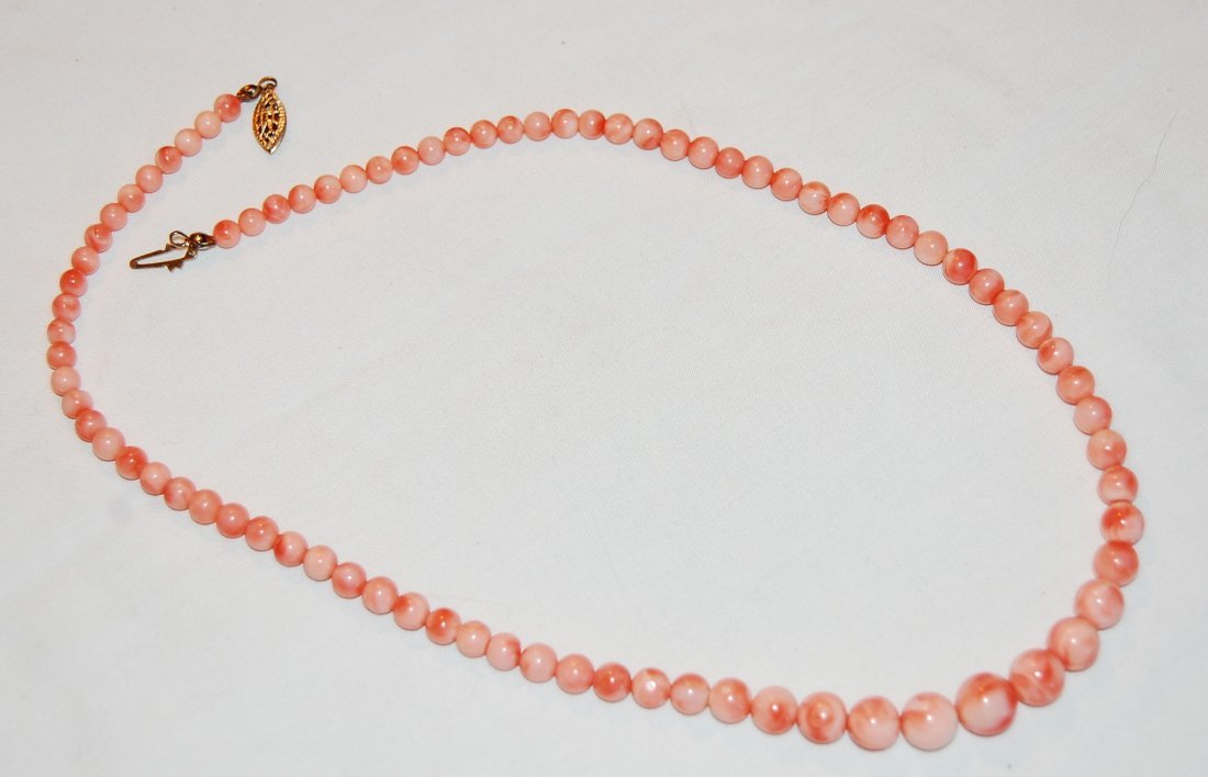 Angel Skin Coral Graduated Necklace