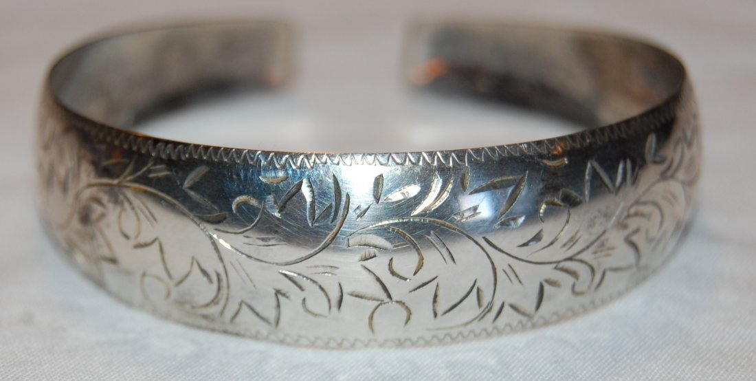 Engraved Japanese Silver Bangle