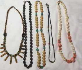 5 Semi-precious Natural Beaded Necklace
