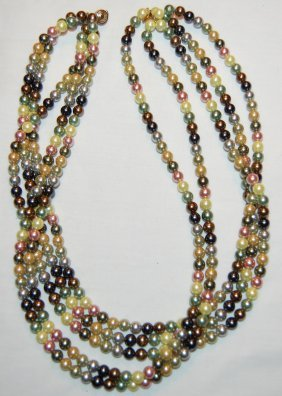 14 Kt Multi-strand Freshwater Pearl Necklace