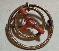 Gold Filled Coral Brooch
