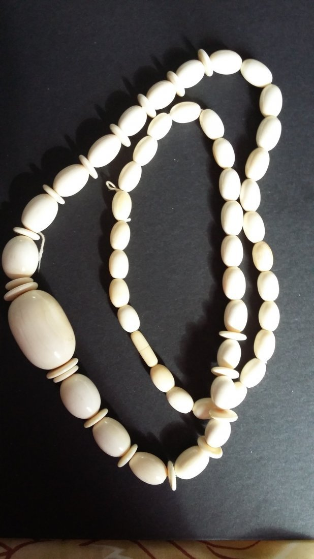 "Antique 30"" Beaded Ivory Necklace"
