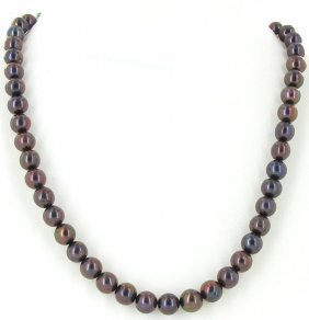 Black Peacock Saltwater Pearl Strand Necklace