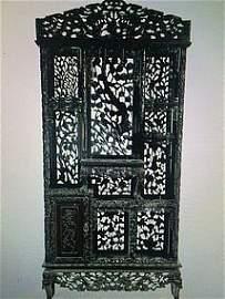 Chinese Pierce carved massive rosewood curio shelf