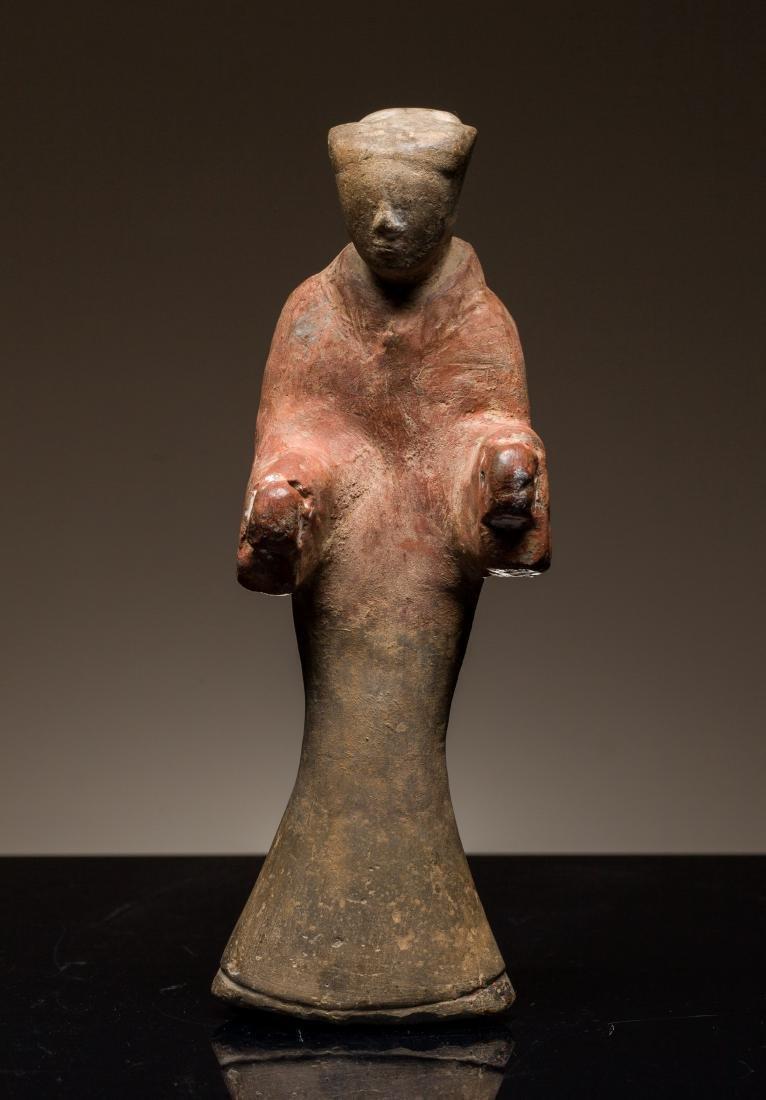 Han Antique Glazed Pottery Figure Lady
