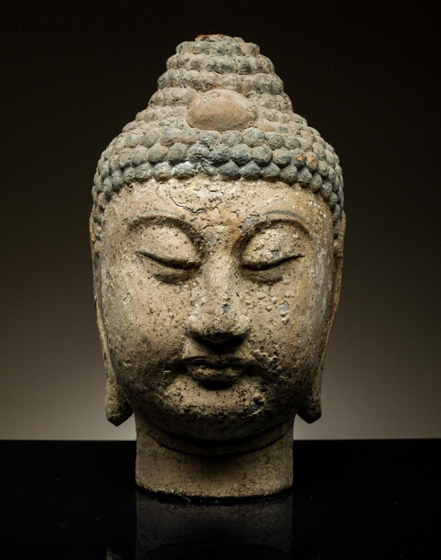 Ming Dynasty Wooden Buddha Head