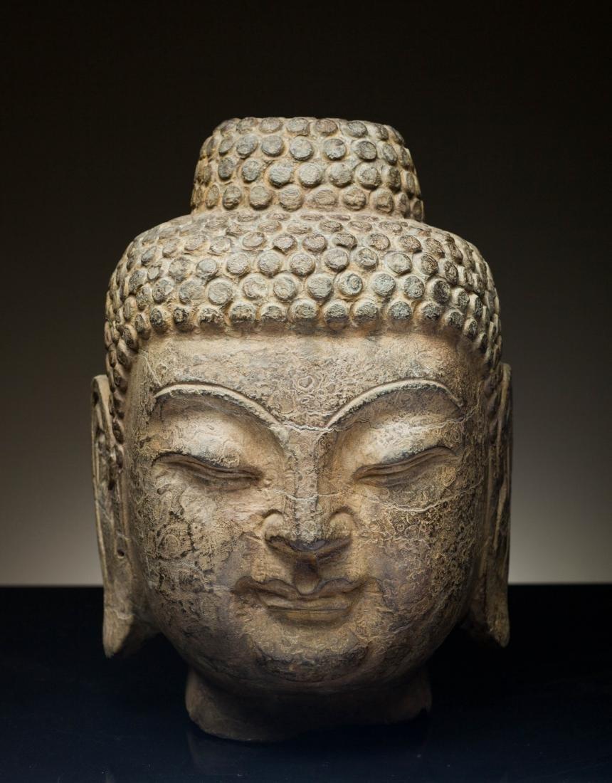 North Wei Antique Black Stone Buddha Head