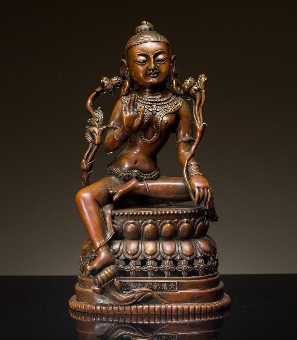 19th Antique Tibet Bronze Buddha