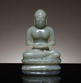 Late 19th Antique Celadon Jade Buddha