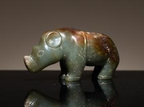Ancient Antique Han Style Jade Rhinoceros
