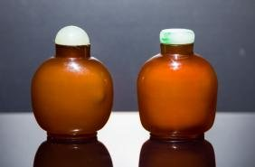 19th Group Antique Amber Like Glass Snuff Bottles