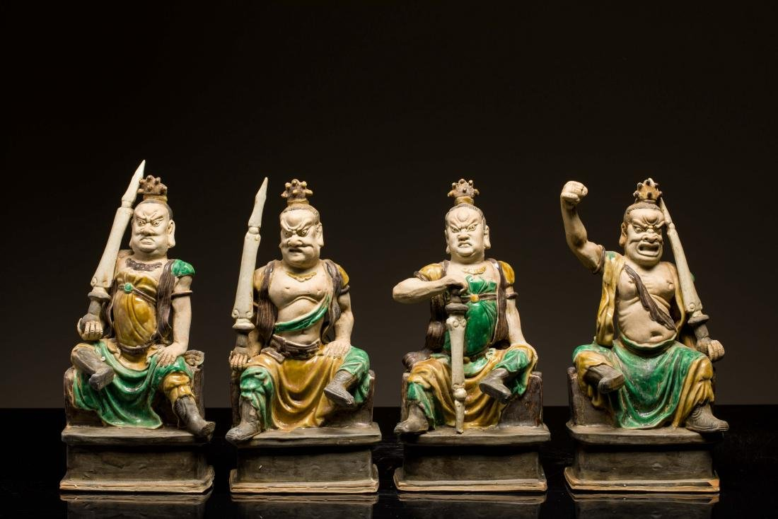 Group 18th Antique Shiwan Sancai Figure: Lokapala
