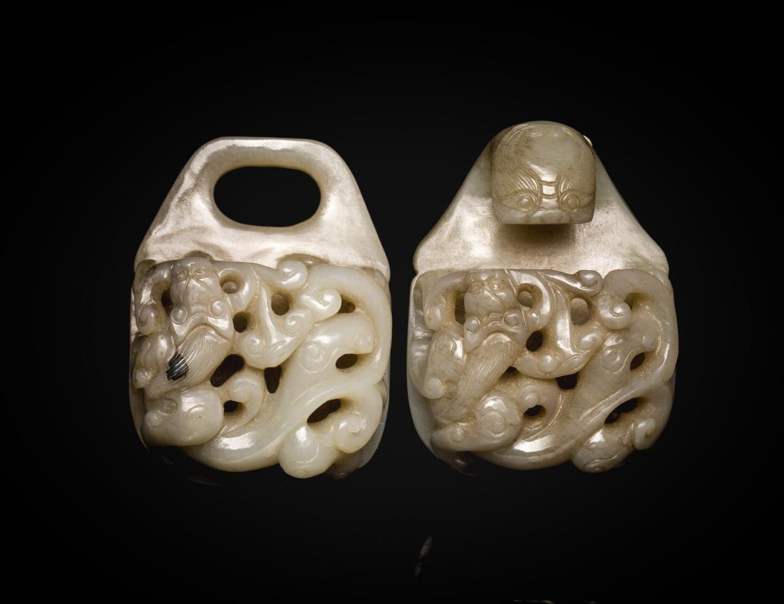 Ming Dynasty Antique Gray Jade Belt Bukle
