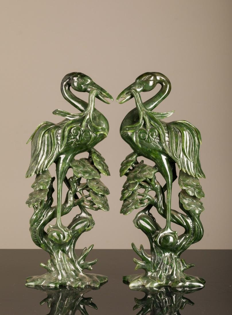 19th Antique Pair of Large Size Spinach Jade  Birds
